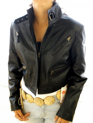 Women's Cropped Bomber Leather Jacket Style 2800 (USED)