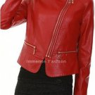 NWT Women's Double Zip Biker Leather Jacket Style FS-212
