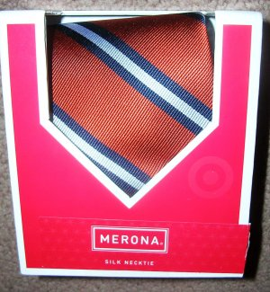 Mens Silk Necktie Tie Merona Orange NIB