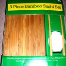 Bamboo Sushi Set Board Bowl Chopsticks NIP