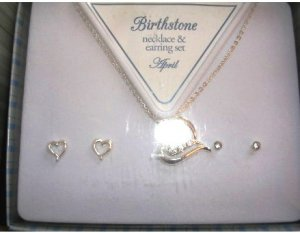 April Heart Necklace &amp; Earring Set New In Box