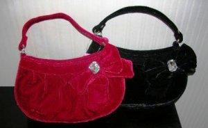Velvet Pocketbook Purse Handbag Girls Red