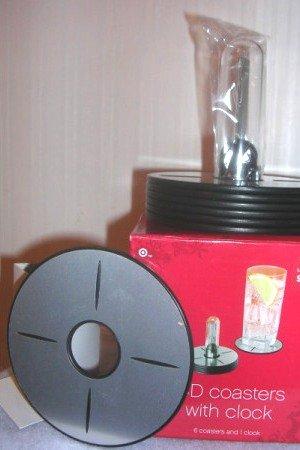 Coasters CD Shaped Coasters with LCD Clock NIB