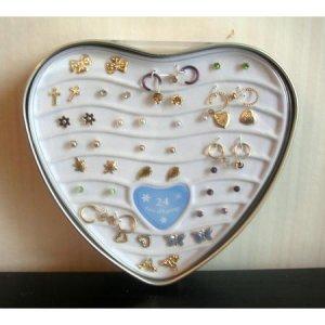 Earrings Set of 24 Heart Tin New