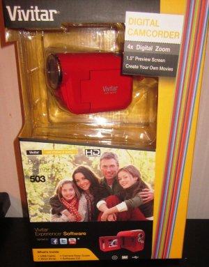 Vivitar 503 Digital Camcorder Red 4x Digital Zoom