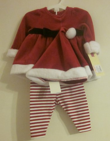 Velvet Girls Santa 3 Piece Outfit 3-6 months