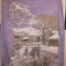 Womens Long Sleeve Top Purple Kids Skating Winter Scene Size Large
