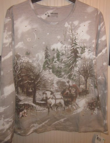 Womens Small Long Sleeve Top Brown Tan Winter Scene Family Sleigh Ride