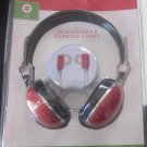 NIP Deluxe Headphones and Earbuds Combo Set Red Glitter Glittery Shiny