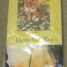 NIP Evergreen Garden Flag Wishful Kitten Cat Butterflies Daisies