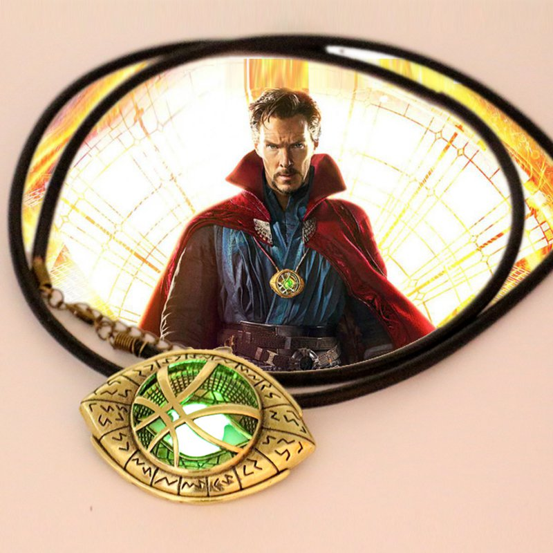 NEW Dr Doctor Strange Eye of Agamotto Amulet Men Antique Bronze GLOW in the DARK Pendant Necklace