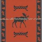 Southwestern Moose Lodge RED Fleece TWIN Blanket CB1861