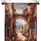 """Archway to the Sea Mediterranean Tapestry Wall Hanging 48"""" x 26"""""""