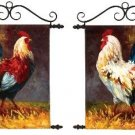 "2PC French Tuscan Red Roosters Painted Tapestry Wall Hanging 12"" x 16"""