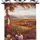 "Tuscan Vineyard European Hand-Painted Tapestry Wall Hanging 36"" x 26"""