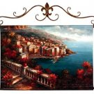 """View of Perugia European Hand-Painted Wall Hanging 40"""" x 33"""""""