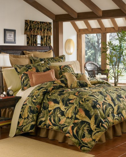 4PC Tropical Island Palms CAL KING Comforter & Valance