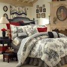 "BOUVIER Black & White French Toile Comforter QUEEN 15""  CSQ2950"