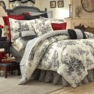 "BOUVIER Black & White French Toile Comforter KING 18"" CSK2950"