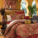 "4PC Moroccan RED Dalyan Paisley 18"" Drop QUEEN Comforter CSQL4650"