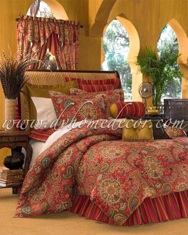 4PC Moroccan RED Dalyan Paisley FULL Comforter CSF4650
