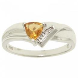 White Gold Ring Trillion Citrine Diamond Sz=7 Womens