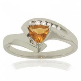 10KT White Gold Bypass Ring Trillion Citrine Diamond