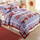 Fire Truck Twin Quilt with Pillow Sham