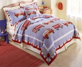 Fire Truck Twin Quilt with Pillow Sham