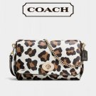 NWT COACH MINI RUBY CROSSBODY CLUTCH IN OCELOT PRINT COATED CANVAS F35880