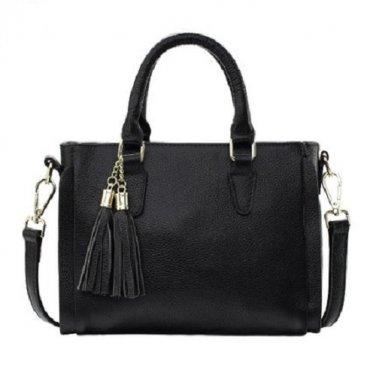 NWT Designer Fashion Pebbled Leather Small Shoulder Crossbody Handbag Black