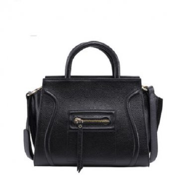 NWT Marino Orlandi Pebbled Leather Medium Luggage Tote Shoulder Handbag Black