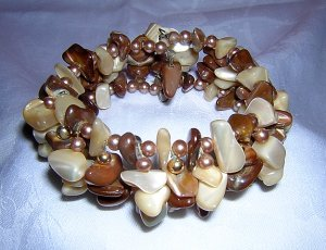 Flexible stretch wire cuff bracelet mixed tumbled stones beads ll1933