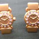 Wristwatch earrings matte gold tone  & rhinestone clips vintage jewelry ll2042