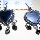 Dangly heart earrings black onyx jet sterling silver earwires vintage jewelry ll2071