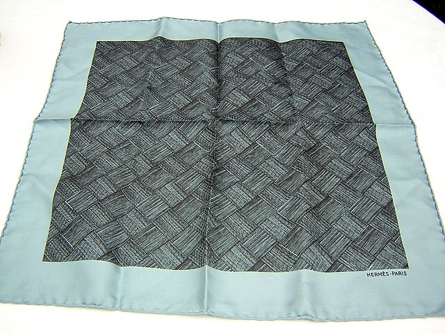 Small silk twill scarf front roll hem gray teal ll1812