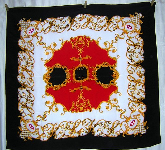 Mr. Jax large silk scarf heraldry design red white navy blue gold ll1810
