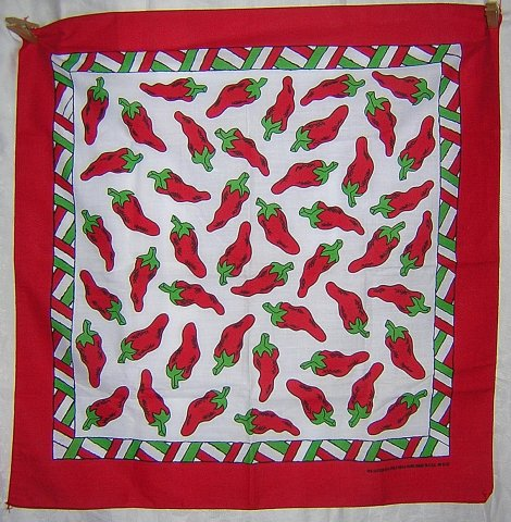 Red chili pepper scarf bandana kerchief cotton/poly