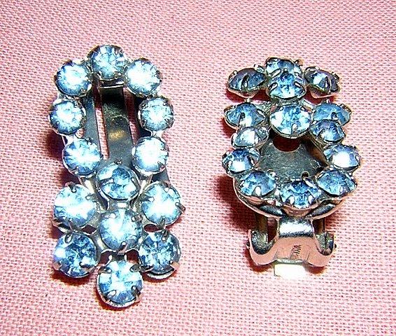 Blue rhinestone clip earrings Austria clip backs vintage jewelry ll2036