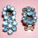 Blue rhinestone clip earrings Austria clip backs vintage jewelry ll2036