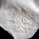 Vintage linen wedding hanky whitework & threadwork ll1668