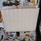 Shirred beige satin vintage evening bag satin rope cord ll1543