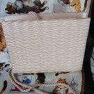 Shirred beige satin vintage evening bag satin rope cord ll1543