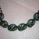 Pewter color leaf link bracelet 1950s era vintage ll1827