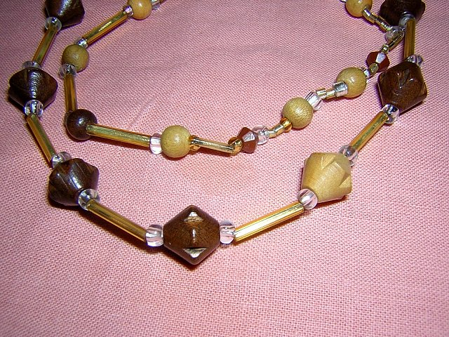 "27"" rope necklace wood & lucite plastic beads and bars vintage jewelry ll2047"