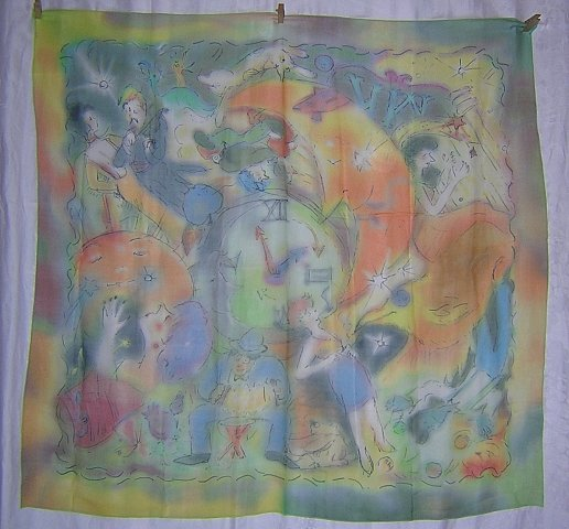 Dream-like story scarf sketchy design filmy colors unusual theme ll1875