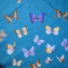 Cornelia James butterflies on blue polyester scarf vintage ll1873