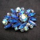 Vintage Montana blue rhinestones aurora borealis pin or brooch ll1982