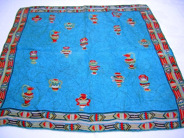 Grecian urn silk scarf beautiful colors vintage ll1785