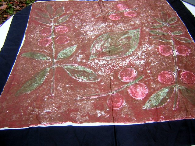 Large silk scarf batik style earthy print excellent vintage ll1782